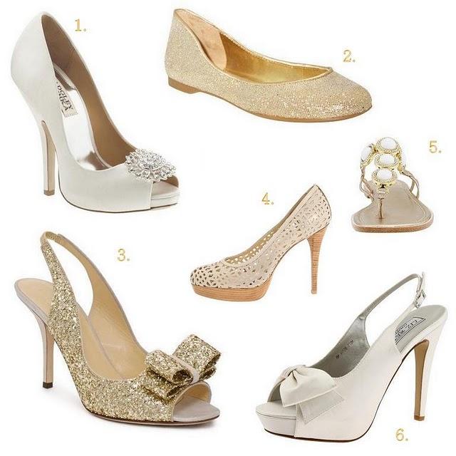 Pantofi de mireasa alb-aurii